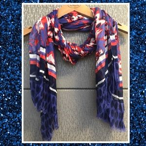 Talbots NWOT Purple, White, & Orange Floral Scarf